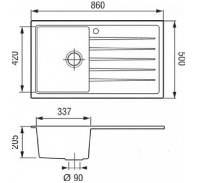 Кухонная мойка Longran CLS 860.500 - 58 Sabbia